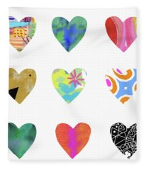 Colorful Hearts- Art By Linda Woods Fleece Blanket