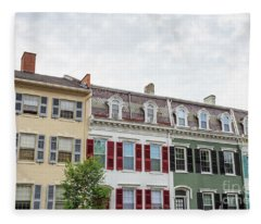 Colorful Historic Row Houses Fleece Blanket