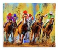 Colorful Horse Racing - Signed Fleece Blanket