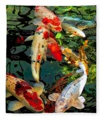 Colorful  Japanese Koi Fish Fleece Blanket
