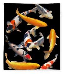 Colorful Japanese Koi Vertical Fleece Blanket