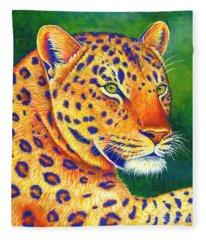 Colorful Leopard Portrait Fleece Blanket