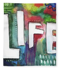 Colorful Life- Art By Linda Woods Fleece Blanket