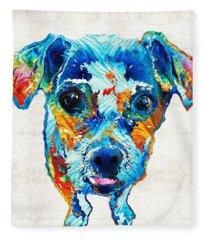 Colorful Little Dog Pop Art By Sharon Cummings Fleece Blanket