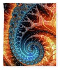 Colorful Luxe Fractal Spiral Turquoise Brown Orange Fleece Blanket
