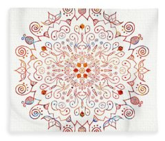 Colorful Mandala On Watercolor Paper Fleece Blanket