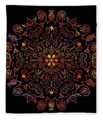 Colorful Mandala With Black Fleece Blanket