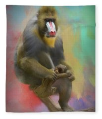 Colorful Mandrill Fleece Blanket