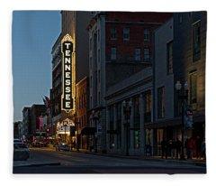 Colorful Night On Gay Street Fleece Blanket