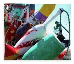 Colorful Old Buoys In Provincetown Cape Cod Fleece Blanket