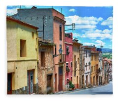 Colorful Old Houses In Tarragona Fleece Blanket