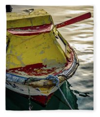 Colorful Old Red And Yellow Boat During Golden Hour In Croatia Fleece Blanket