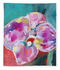 Colorful Orchid- Art By Linda Woods Fleece Blanket