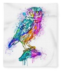 Colorful Owl Fleece Blanket