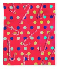 Colorful Pepermint Candy Canes Fleece Blanket