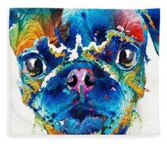 Colorful Pug Art - Smug Pug - By Sharon Cummings Fleece Blanket