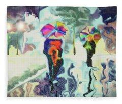 Colorful Rain Fleece Blanket