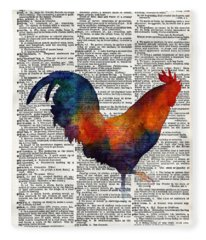 Colorful Rooster On Vintage Dictionary Fleece Blanket