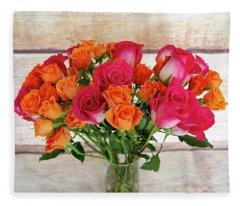 Colorful Rose Bouquet Fleece Blanket