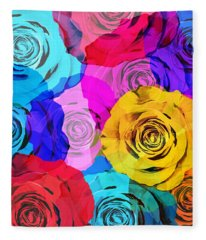 Colorful Roses Design Fleece Blanket