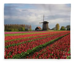 Colorful Rows Of Tulips In Front Of A Windmill Fleece Blanket