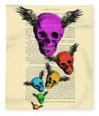 Colorful Rainbow Skull With Wings Illustration On Book Page Fleece Blanket
