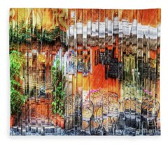 Colorful Street Cafe Fleece Blanket