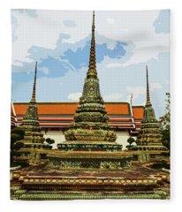 Colorful Stupas At Wat Pho Fleece Blanket
