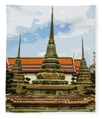 Colorful Stupas At Wat Pho Fleece Blanket