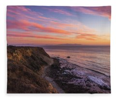 Colorful Sunset At Golden Cove Fleece Blanket