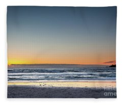 Colorful Sunset Over A Desserted Beach Fleece Blanket