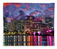 Colorful Sunset Over Downtown West Palm Beach Florida Fleece Blanket