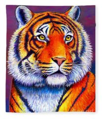 Colorful Tiger Fleece Blanket