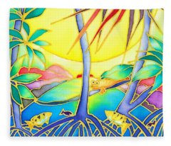 Colorful Tropics 8 Fleece Blanket