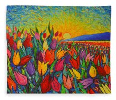 Colorful Tulips Field Sunrise - Abstract Impressionist Palette Knife Painting By Ana Maria Edulescu Fleece Blanket