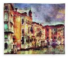 Colorful Venice Canal Fleece Blanket