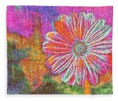 Colorful Watercolor Flower Fleece Blanket