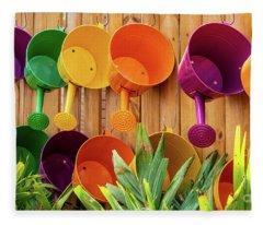 Colorful Watering Cans Fleece Blanket
