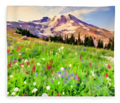 Colorful Wildflowers In National Park Mount Rainier Fleece Blanket