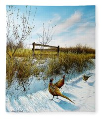 Colors Of Winter - Pheasants Fleece Blanket