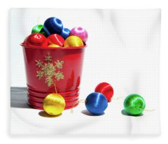 Coloured Baubles In A Pot Fleece Blanket