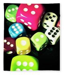 Colourful Casino Dice  Fleece Blanket