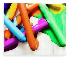 Colourful Crayon Art Fleece Blanket