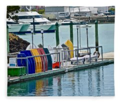 Colourful Dinghies Auckland Fleece Blanket