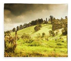 Colourful Fields And Farmyards Fleece Blanket