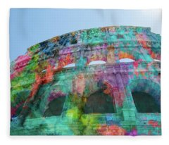Fleece Blanket featuring the mixed media Colourful Grungy Colosseum In Rome by Clare Bambers