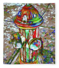 Colourful Hydrant Fleece Blanket