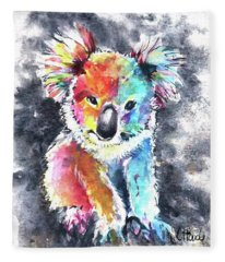 Colourful Koala Fleece Blanket