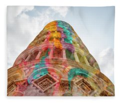 Fleece Blanket featuring the mixed media Colourful Leaning Tower Of Pisa by Clare Bambers
