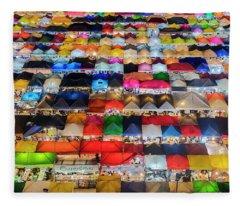 Colourful Night Market Fleece Blanket